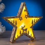 "Фигура деревянная ""Звезда"" на батарейках"