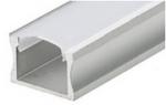 Накладной алюминиевый профиль (высота 15мм, ширина 23мм) с рассеивателем (2м)