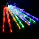 Невлагозащищенная светодиодная гирлянда Тающие сосульки 8шт по 50см Мульти