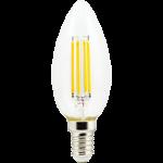 Светодиодная филаментная (нитевидная) лампа свеча Е14 6Вт Premium