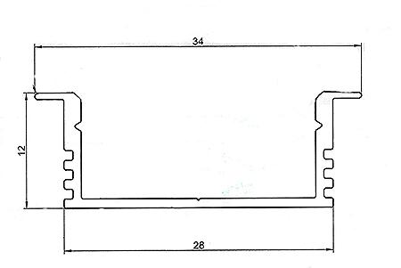 Алюминиевый встраиваемый профиль ширина 34мм высота 12мм