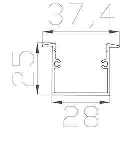 Алюминиевый встраиваемый профиль (ширина 37мм высота 25мм) с рассеивателем