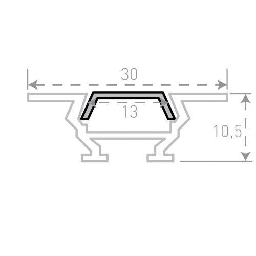 Врезной алюминиевый профиль с рассеивателем 2м
