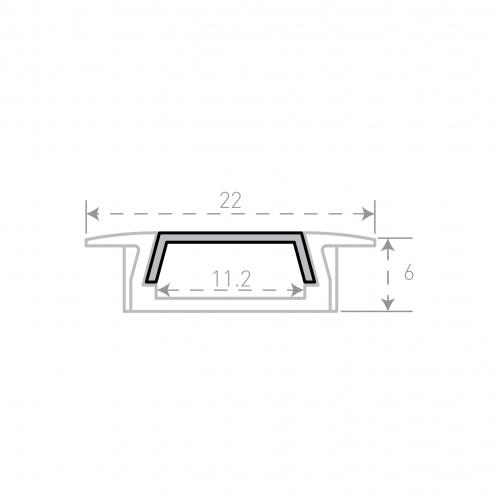 Врезной алюминиевый профиль Micro с рассеивателем 2м