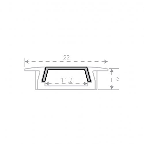 Врезной алюминиевый профиль Micro с рассеивателем 1м