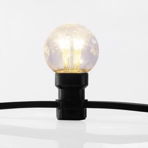 Влагозащищенная Ретро гирлянда на черном ПРЯМОМ проводе 10м 30Led ламп