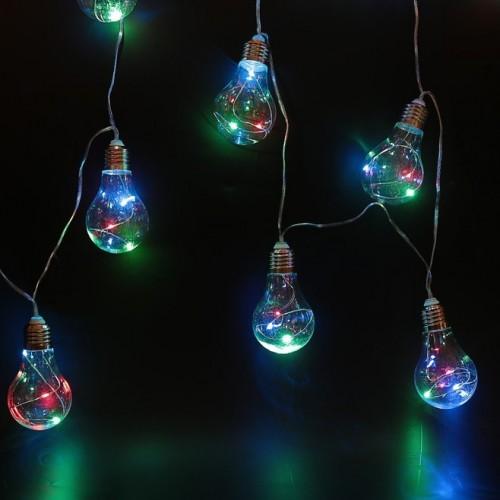"Гирлянда на солнечной батарее ""Лампочки"" 4м 10 ламп Мульти"