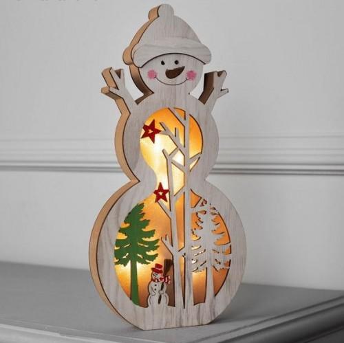 """Фигура деревянная """"Снеговик"""" на батарейках"""