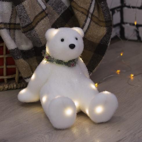 "Фигура световая ""Белый мишка"" на батарейках"