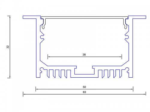 Алюминиевый встраиваемый профиль (ширина 63мм высота 32мм) с рассеивателем