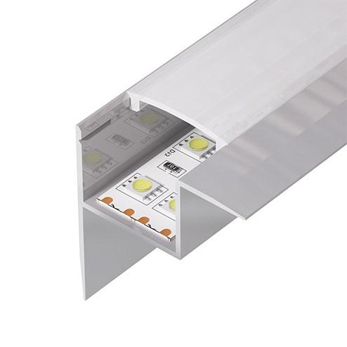 Алюминиевый встраиваемый профиль (ширина 43мм высота 45мм) с рассеивателем