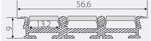 Алюминиевый профиль тройной встраиваемый