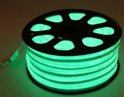 Комплект гибкий светодиодный неон 20м с сетевым шнуром Зеленый