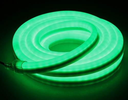 Комплект гибкий светодиодный неон 5м с сетевым шнуром Зеленый