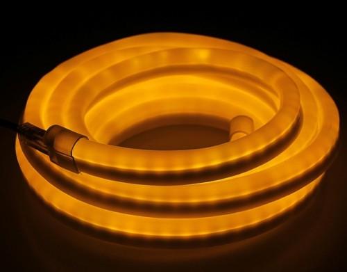 Комплект гибкий светодиодный неон 5м с сетевым шнуром Желтый