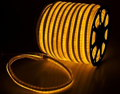 Комплект гибкий светодиодный неон 50м с сетевым шнуром Желтый