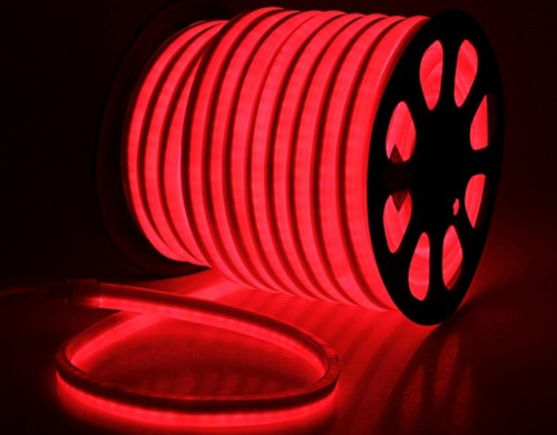 Комплект гибкий светодиодный неон 50м с сетевым шнуром Красный