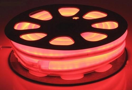 Комплект гибкий светодиодный неон 20м с сетевым шнуром Красный