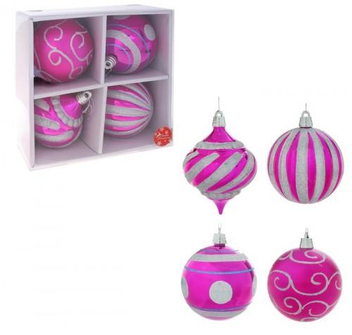 Набор больших новогодних шаров (4 шт) диаметром 15см Розовые