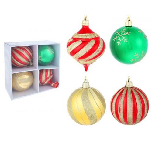 Набор больших новогодних шаров (4 шт) диаметром 15см Разноцветные