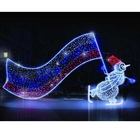 """Светодиодная композиция """"Снеговик с флагом"""""""