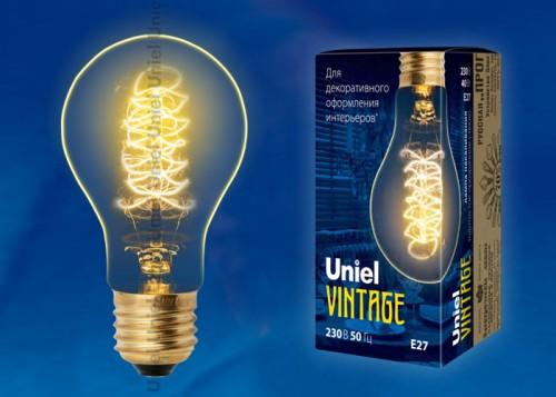 Декоративная лампа накаливания Винтаж А60 40Вт