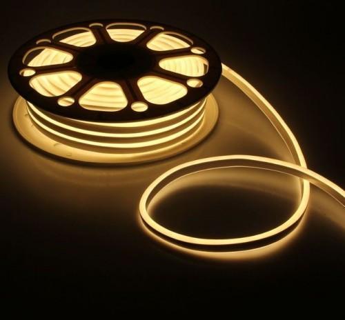 Гибкий светодиодный неон двухсторонний 25м с сетевым шнуром