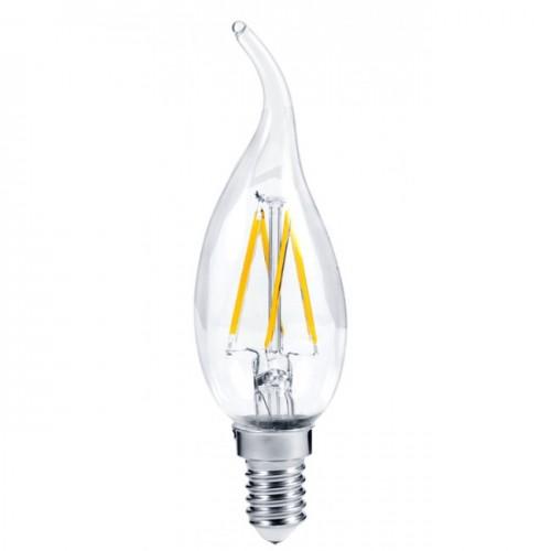 Светодиодная филаментная (нитевидная) лампа свеча на ветру Е14 5Вт