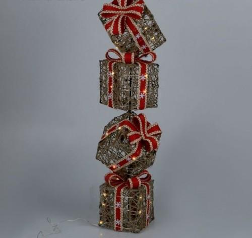 "Фигура металлическая ""4 подарка"" на батарейках 3хАА"