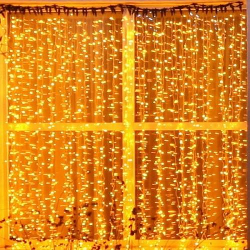 """Влагозащищенный светодиодный """"Занавес"""" 2х3м с мерцанием Желтый (на золотом проводе)"""