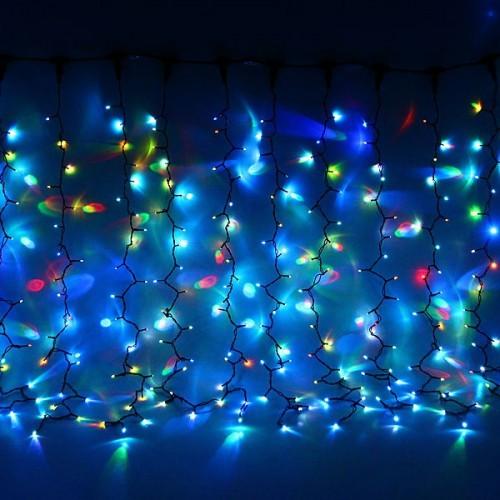 """Влагозащищенный светодиодный """"Занавес"""" 2х1,5м с динамикой RGB (на черном проводе)"""