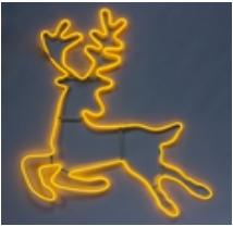 """Светодиодная фигура из неона """"Бегущий олень"""" 1,08х1,03 м"""