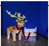 """Объемная фигура из акрила """"Олень с санями"""" со светодиодной подсветкой 170х37х90 см"""