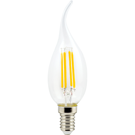 Светодиодная филаментная (нитевидная) лампа свеча на ветру Е14 6Вт Premium