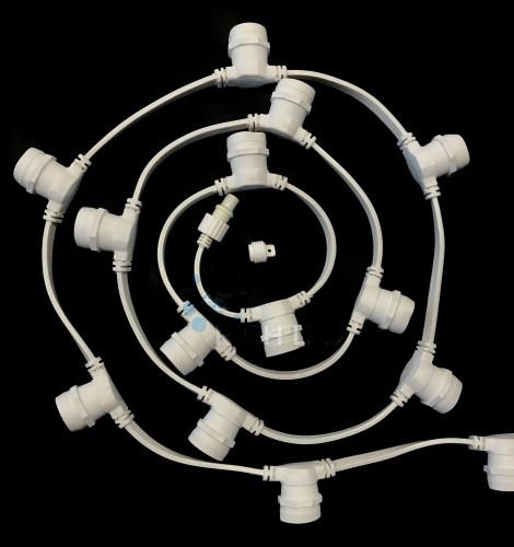Ретро гирлянда влагозащищенная (с шагом патронов 20см) Белая