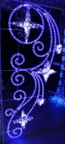 """Светодиодный мотив подвесной  """"Шары и звезды"""" Бело-синий"""