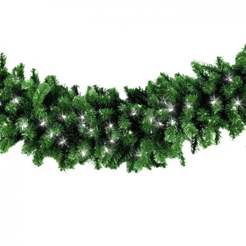 Еловый шлейф 2.7м с мерцающими светодиодами (Холодный белый)
